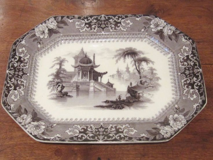 "Ironstone Mulberry Transfer Print Octagonal ""Corea"" Pattern Platter / Circa 1840 