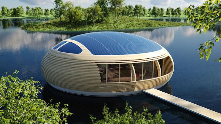 solar power, eco home, floating home, Giancarlo Zema, EcoFloLife, WaterNest 100, recycle home, recycled glued laminated timber, recycled aluminum hull, wooden roof, solar panels, pod-shaped home, floating pod, micro-ventilation,