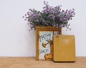 Metal Tin In Mustard Yellow Hand Painted Square Tin Cottage Chic Decor Amazing Grace Painted Metal Tin Country Home Decor Shabby Chic Decor - pinned by pin4etsy.com