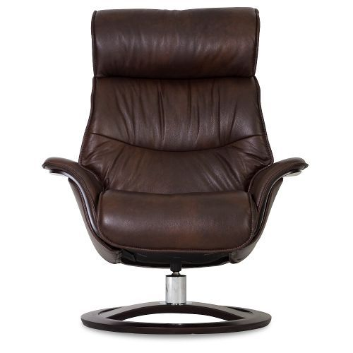 truffle brown leather recliner u0026 swivel chair with ottoman relaxer - Brown Leather Recliner