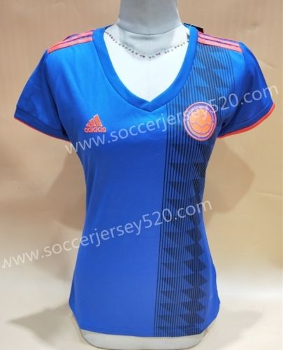 3e6ca0c1d14 2018 World Cup Colombia Away Blue Female Thailand Soccer Jersey AAA ...