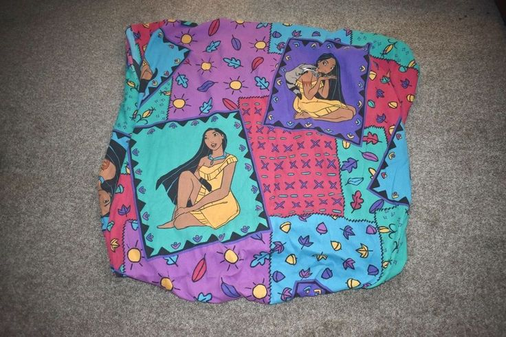 Vintage Disney Pocahontas Miko Green Purple TWIN Fitted Bed Sheet Fabric #Disney