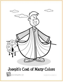 josephs coat of many colors free coloring page httpmakingartfun - Free Printable Coloring Page