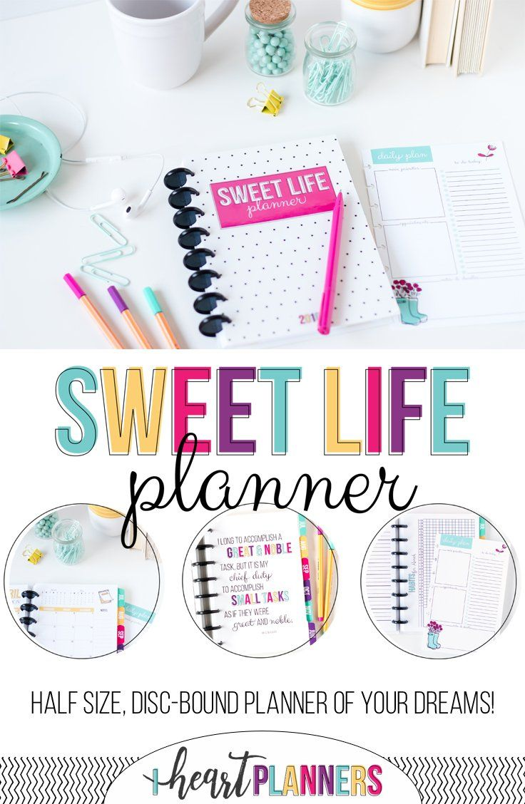 Sweet Life Planner - Brand new discbound planner.  Daily planner that is lightweight and portable. Half size day per page layout.