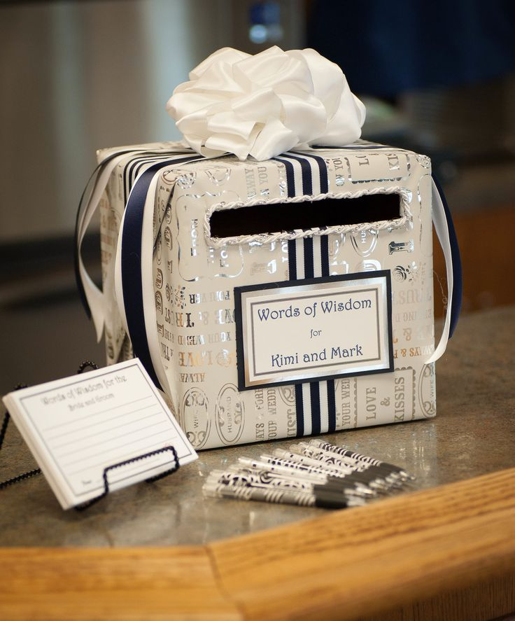 Beautiful wedding advice idea or card box. I love the paper and ribbon. Very well presented and so simple to DIY.