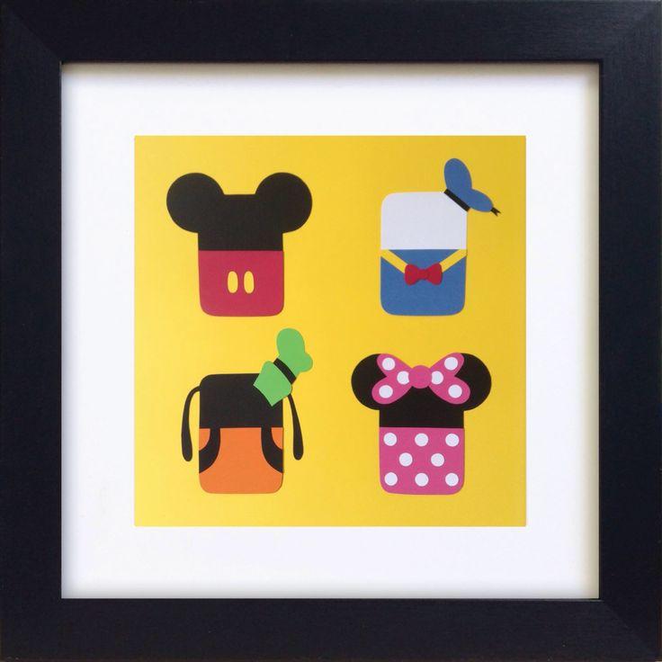 Handmade Minimalist Disney Characters Poster - Framed