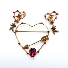 Joseff Open Heart Pin Earrings with Cherubs and Red Rhinestones
