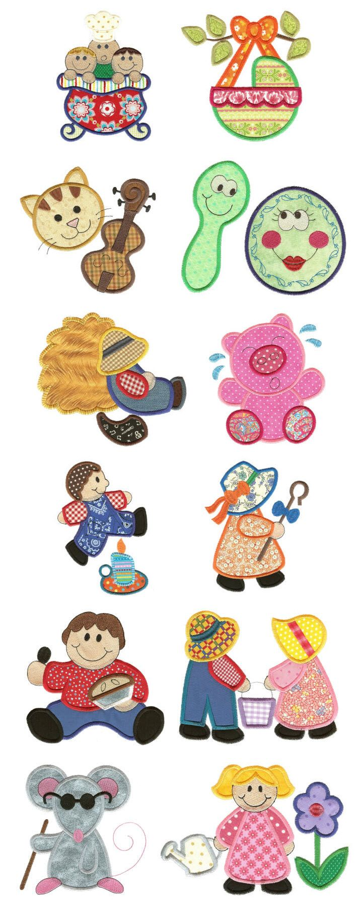 Embroidery | Free Machine Embroidery Designs | Nursery Rhymes Applique Set 2