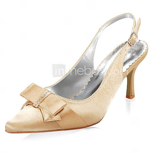 qualidade superior de cetim saltos superiores meados bombas com sapatos bowknot casamento / sapatos de noiva (0984-R-043)