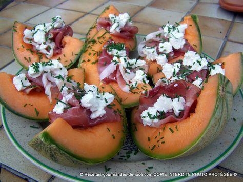 Salade de melon,chèvre, ciboulette, bacon