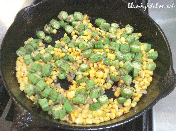 Skillet Sautéed Corn and Okra is a easy, delicious vegetable dish using 2 of summer's favorite veggies.