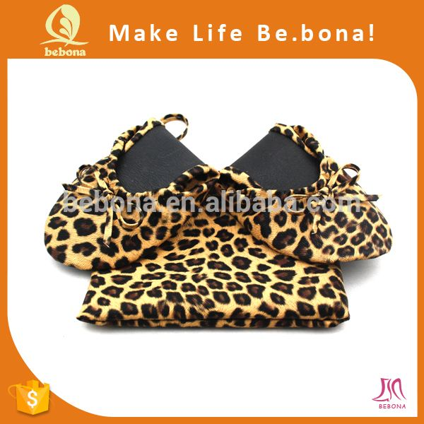"""Ballerina Roll up Shoe for Wedding Gift, Leopard Animal Print Foldable Shoe for Wedding Gift, Fold up Shoes with Bag"""