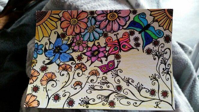 Blumen und Schmetterlinge, gemalt, meine Arbeit, mein Bild tk