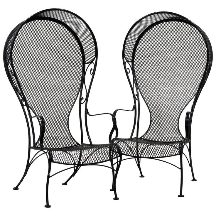 Pair of Woodard Mid-Century Hollywood Regency Wrought Iron and Mesh Patio Chairs 1