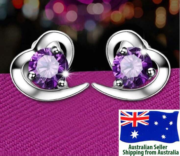 925 Sterling Silver Plated Purple Heart Stud Earring Woman Fashion Jewellery