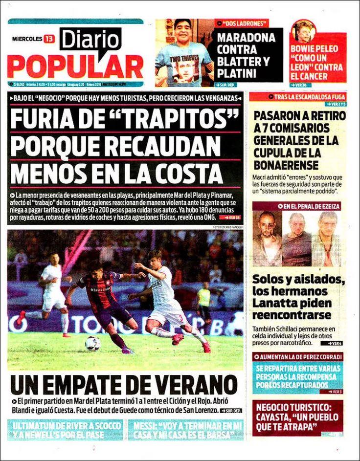 Diarios Argentinos - Portadas del dia 13-01-2016 sitio oficial Diario Popular