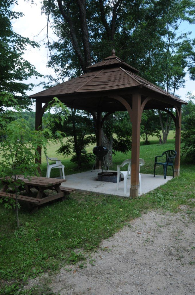 12 best gazebo with fire pits images on pinterest for Plans for gazebo with fireplace