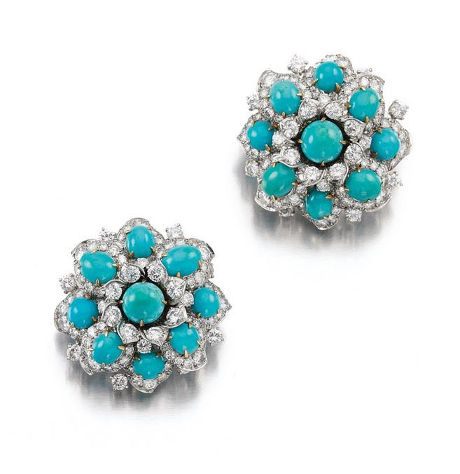 PAIR OF TURQUOISE AND DIAMOND EAR CLIPS, BULGARI, 1962 , $29,000.00 Each of floral design set with brilliant-cut diamonds, accented with cabochon turquoise, signed Bulgari, French assay marks, pouch stamped Bulgari.