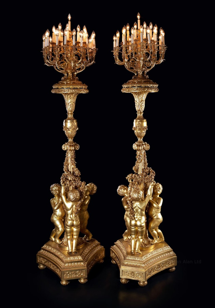 An Important Pair of Louis XV Style Monumental Thirty-One Light Giltwood Torchères  French, Circa 1870.