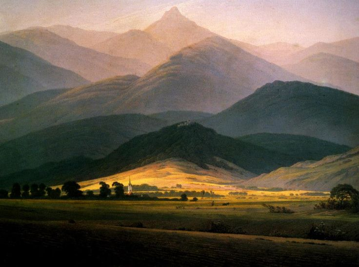 Каспар Давид Фридрих. Исполиновы горы. Caspar David Friedrich, Paesaggio con il Riesengebirge (1810) cm 58x45, Museo Pouchkine, Moscow