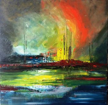 Other Worlds Part 11, 70 x 70cm acrylic on canvas by Mo Tuncay