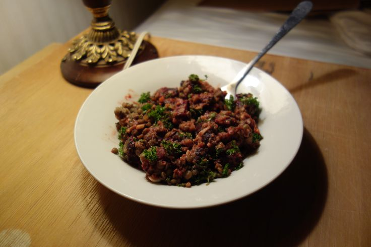 Puy lentils and roasted beetroot salad with balsamic vinaigrette and chopped parsley.