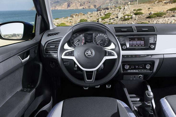 The dashboard in the new ŠKODA Fabia has a much more dynamic look, an effect which the designers achieved by, among other things, positioning the central air inlets higher up and providing the upper part of the dashboard with more distinctive contours newfabia #fabia #skoda