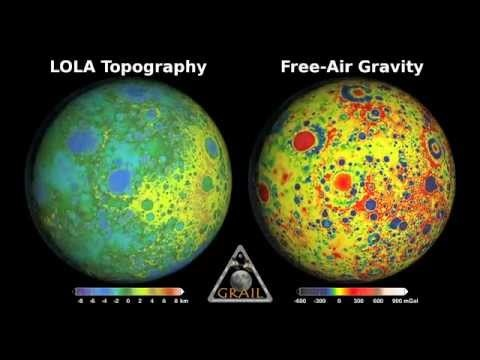 NASA Shows Moon Rotating - Mapped by Gravity - Mapped by Topography