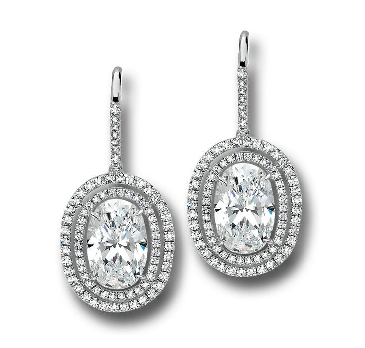 Double Micro Set Diamond Frame Earrings With Oval Centers Designed By Martin Katz