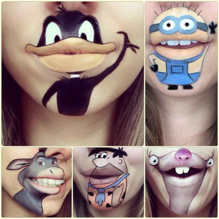 Comicfiguren auf den Lippen schminken: kreatives Make-up von Laura Jenkinson