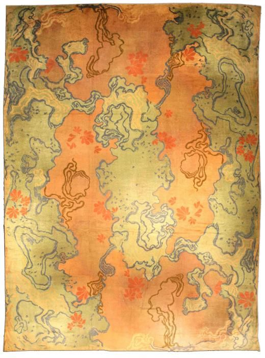 A Viennese Art Nouveau carpet BB1567, Ca. 1910, Doris Leslie Blau, NYC.  Anonymous designer, but since the greens don't really fit into our color scheme for the new Philosophical Brothel, I would suggest using the greys and yellow from the Tai Ping carpet shown here and making a custom rug.
