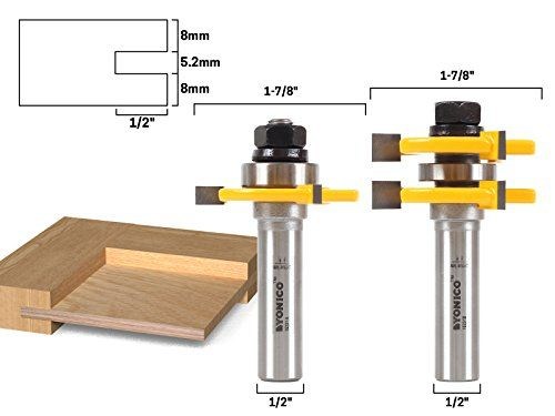 "Yonico 15231 2 Bit Tongue and Groove Router Bit Set - 1/4"" Plywood - 1/2"" Shank  5.2mm Tongue and Groove for 1/4"" Plywood center panel.  Easy setup and perfect tongue and groove joints.  For router table use only.  Premium C3 micro-grain carbide cutters with silver induction brazing for maximum strength.  Satisfaction Guaranteed & Limited Lifetime Warranty"