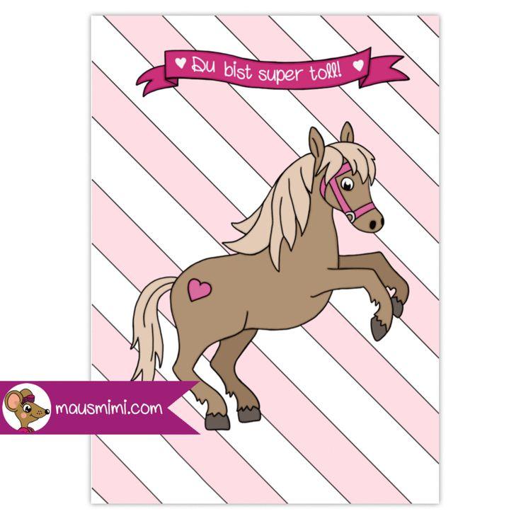 printable din a6 bonuskarte pferd pferdemädchen kinder