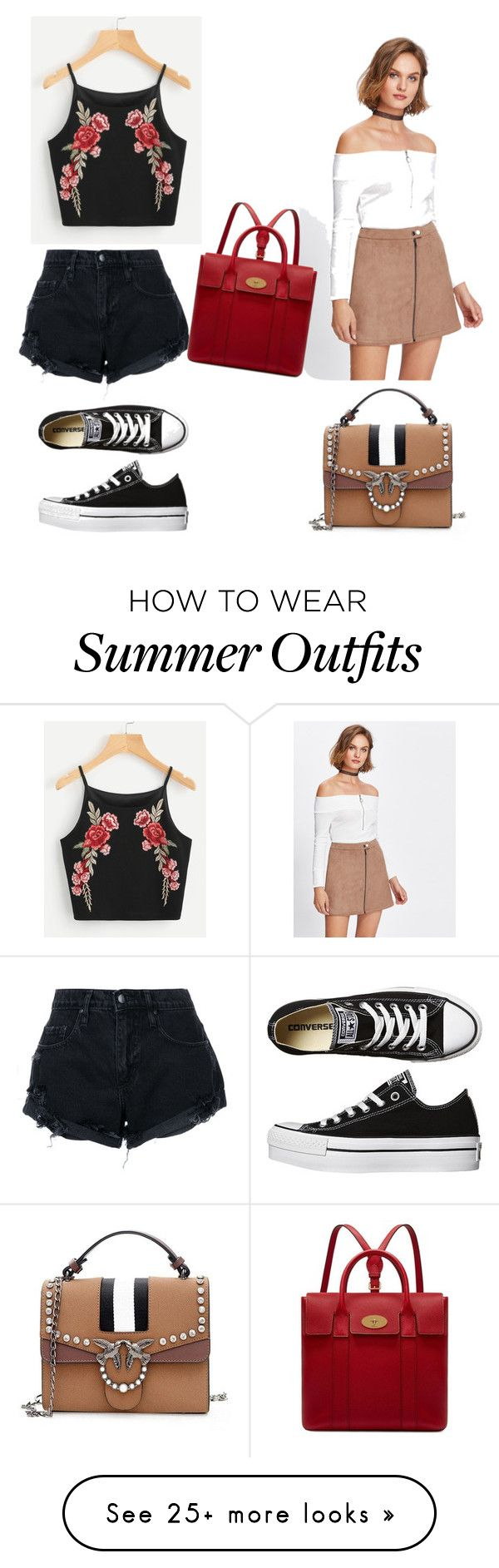 """Summer outfits ⛱"" by shahdsunshine on Polyvore featuring Nobody Denim, Converse and Mulberry"