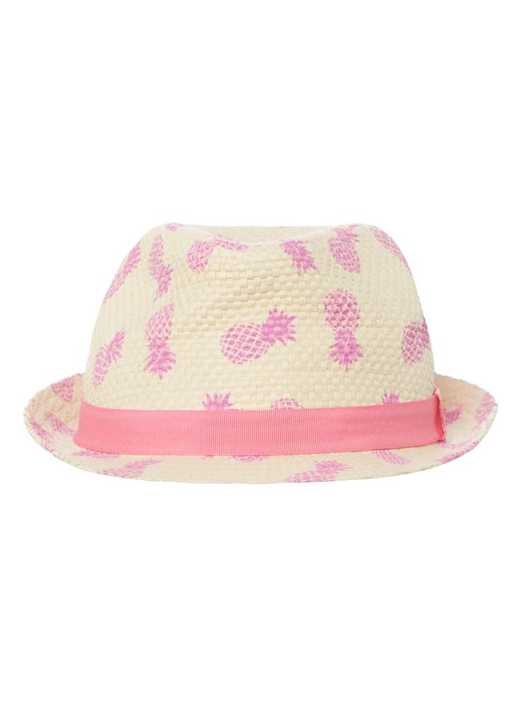 This pineapple print trilby hat will uplift her holiday ensembles. Finished with a pink grosgrain ribbon, this accessory will quickly become a favourite. Girls cream pineapple print trilby hat Pineapple print Grosgrain ribbon detail Lightweight