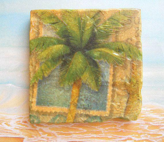Coasters PALM TREE  Set of 4 Tumbled Stone Coasters Tropical Island Beach Decor
