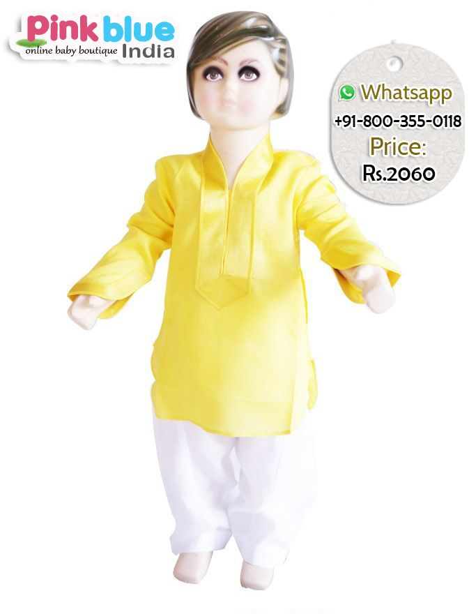 Shop online cute little baby boy in the trendy ethnic wear kurta pajama for eid Festival .