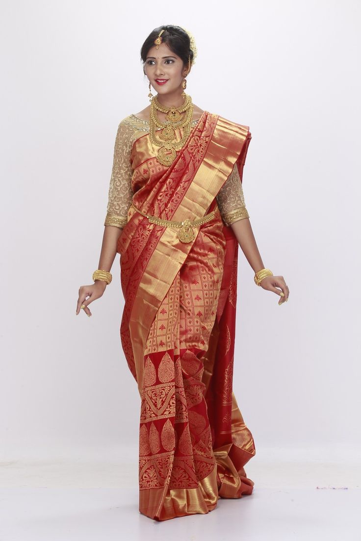 000BRID5209 - 1 gram gold Chilli red wedding silk saree