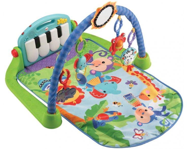 """Игровой коврик Fisher Price """"Пианино"""". На каждое дрыганье ножкой отзывается музыка, над головой висят игрушки, которые можно хватать и двигать."""