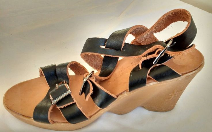 Womens Ladies Famolare Brown Leather Wedge Strappy Sandals Size 6.5/39.5 New