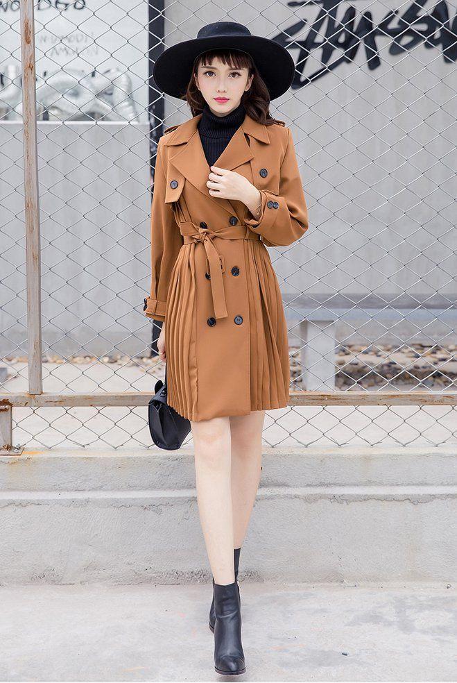 CW57857 Long overcoat double-breasted windbreaker for women