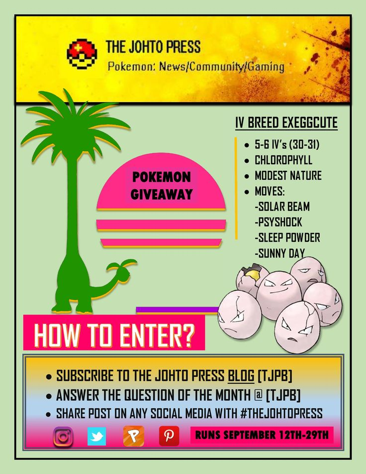 "The Pokemon Exeggutor has become the MEME of Pokemon Sun and Moon! Why not take yourself an Exeggcute to evolve in Alola. September's Pokemon Giveaway is no other than an IV Breed Exeggcute so be sure to head over to the blog and answer the ""Question of the Month"" for your chance to win here: https://pokemonbreederbertii.wordpress.com/2016/09/08/pokemon-question-of-the-month/  Blog Subscription: http://eepurl.com/b-yIpL"