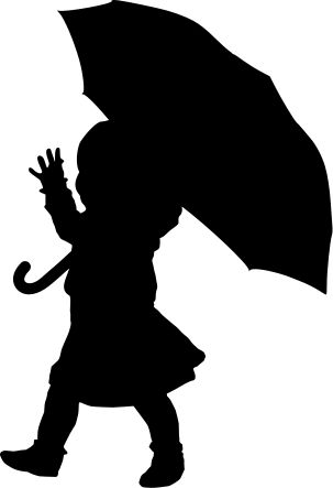 The Lady Wolf: Child with Umbrella Silhouette SVG