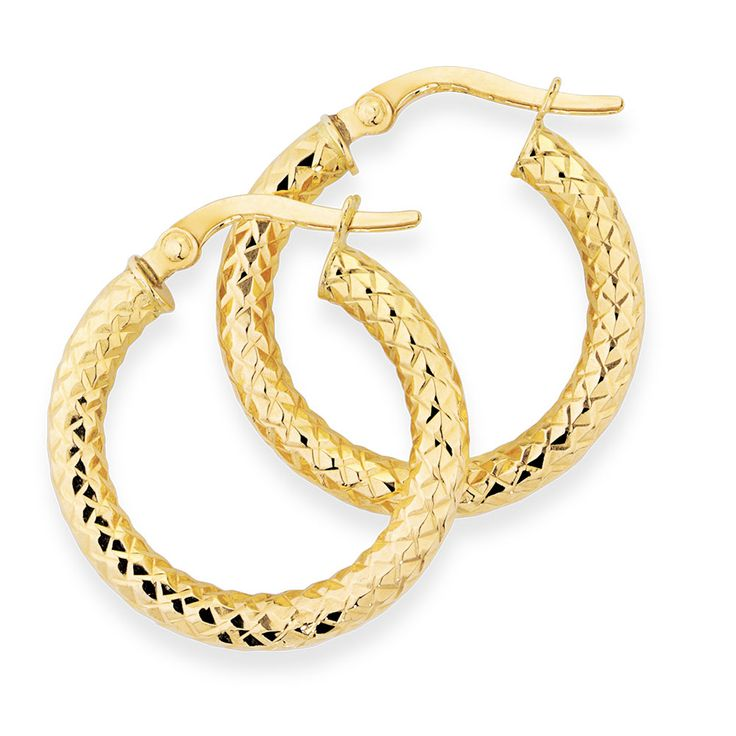 10ct Yellow Gold 15mm Patterned Earrings
