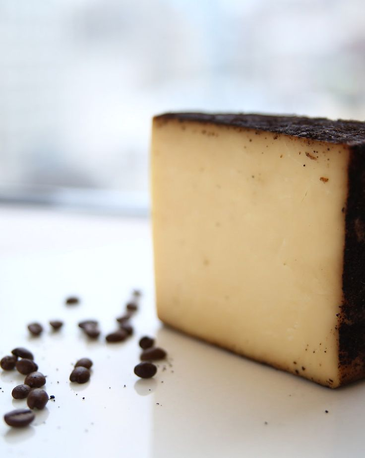 Barely Buzzed has an edible rind made of ground coffee and lavender. The flavors come through as you taste the cheese.