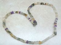 Moss Agate, Amethyst And Freshwater Pearl Necklace.