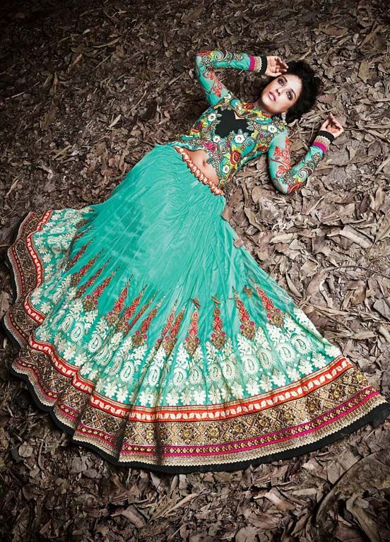 To Order: http://www.fabethnic.com/rama-and-orange-heavy-embroidery-wedding-lehenga-choli