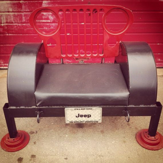 One Of A Kind CJ7 Jeep Bench Chair by CagedCrowFabrication on Etsy, $699.00