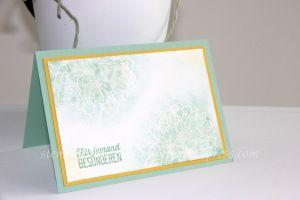 Card for a friend, Freundschaftskarte, l'amitié handmade with Stampin' Up!, Gute Gedanken, Sale a Bration, Mint Macaron, Soft Sky, Minzmakrone, Himmelblau, In Color, Embossing  https://stempelnstanzenstaunen.wordpress.com/