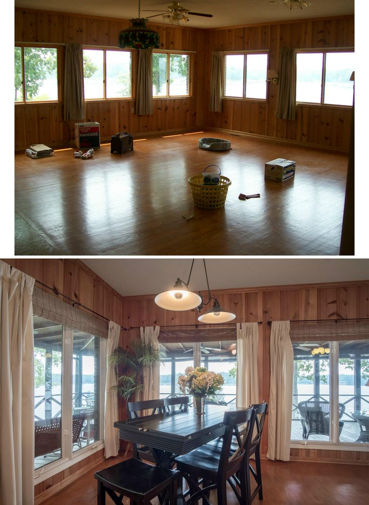 Lake house dining corner before and after. Short sliders were enlarged to full length casement windows and a double pan-style pendant was added for the table. Windows are dressed with canvas panels hanging from dark rods.  Matchstick roman shades finish the tropical style.